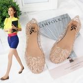 夏季女鞋沙灘平底鳥巢洞洞鞋塑料水晶果凍鞋鏤空網狀涼鞋媽媽單鞋