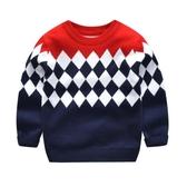 兒童毛衣 男童毛衣兒童套頭秋冬款針織衫小孩冬裝加厚童裝拼接保暖上衣線衣【快速出貨】