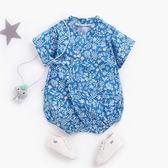 清新植物藍色系浴衣包屁衣 哈衣 兔裝 包屁衣 連身包屁衣 短袖上衣 童裝