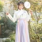 漢服 漢服女學生古裝長款日常漢服女學生班服齊腰襦裙中國風仙女裙套裝 快速出貨