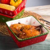 華孚節日喜慶西式創意陶瓷大號沙拉碗家用水果耐熱焗飯盤烤盤【onecity】