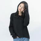 Victoria  異材質拼接設計長袖寬鬆線衫-黑-V6511088