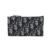 【台中米蘭站】全新品 DIOR Oblique 提花拉鏈卡片套(米/黑)