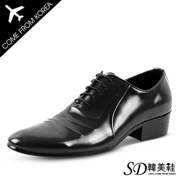 男鞋 韓國空運 立體壓摺設計 質感亮面皮革 綁帶紳士皮鞋【F730388】SD韓美鞋