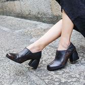 真皮鞋圓頭 深口鞋 粗跟鞋 中跟鞋/2色-標準碼-夢想家-0813