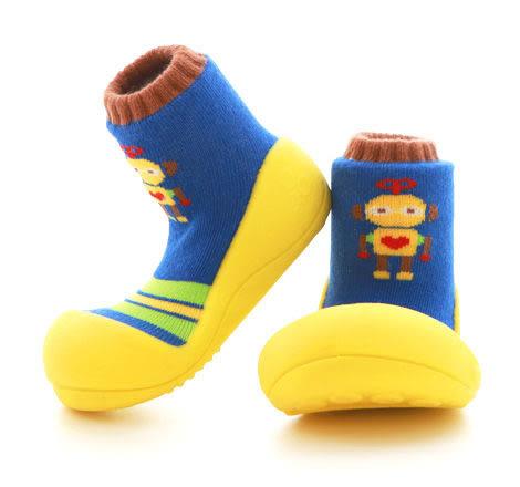 Attipas襪型學步鞋- 黃色機器人