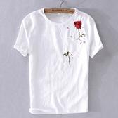 亞麻T恤-玫瑰刺繡白色棉麻短袖男上衣73xf13【巴黎精品】