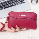 信封手包女手拿迷你手機包中年媽媽零錢包女買菜軟皮長款薄手抓包-Ifashion