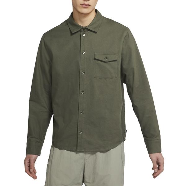 NIKE SB FLANNEL 墨綠 男 長袖 口袋 休閒 襯衫 CV4450325