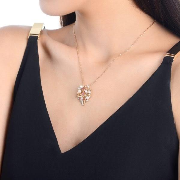點睛品La Pelle-Petite系列 18K玫瑰金鑽石珍珠家庭樹吊墜