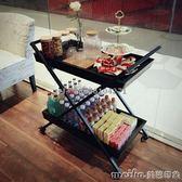 歐式餐車實木家用餐邊水果手推車創意甜品滾輪客廳茶點酒水車QM 美芭