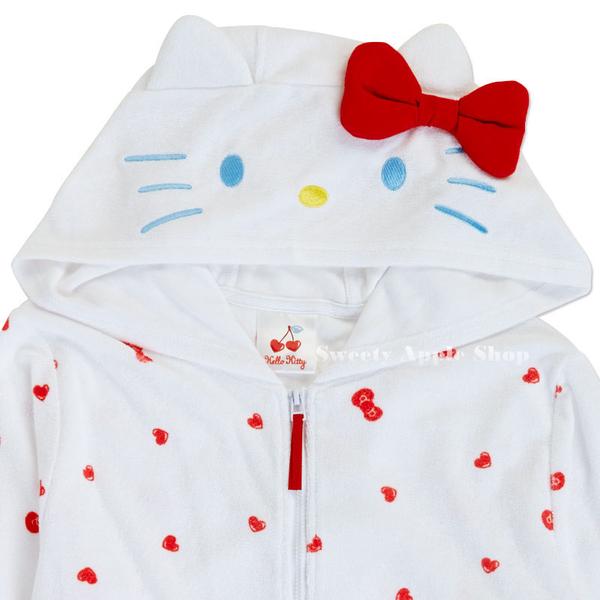 日本限定 三麗鷗 HELLO KITTY 凱蒂貓 滿版蝴蝶結 居家 連帽 綿質外套