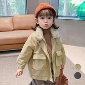 毛毛立領雙口袋加厚柔軟細毛 寬鬆拉鍊外套 風衣 工裝 厚外套 女童 男童 橘魔法 現貨 兒童 童裝
