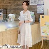 V領蕾絲孕婦洋裝 白色【CUH668007】孕味十足 孕婦裝