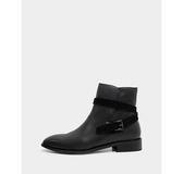真皮短靴-R&BB牛皮*歐美時尚繞帶紳士感低跟平底靴-黑色