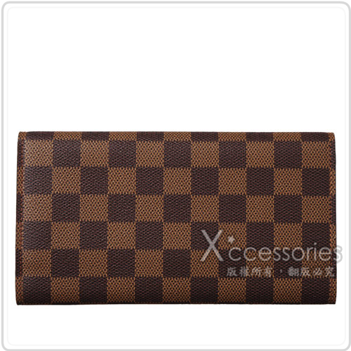 LV N61215 經典Damier 棋盤格紋扣式長夾