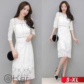 浪漫希臘風鏤空蕾絲長袖洋裝 S-XL O-ker歐珂兒 153053-1