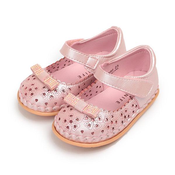 CONNIFE 蝴蝶黏帶娃娃鞋 粉 中小童