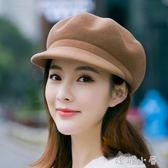 帽子女士韓版秋冬季羊毛呢貝雷帽英倫氣質時尚百搭鴨舌八角帽禮帽