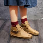 真皮馬丁靴女  手工鞋  軟皮 復古 日系 平底 加絨 圓頭 牛皮短靴/2色–標準碼- 夢想家-1026