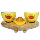 【吉祥開運坊】【金雞供杯*1組(2個)~含木座 請神拜佛/供養金雞//蟾蜍/貔貅】