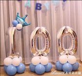 寶寶百天氣球裝飾百日宴百天氣球數字氣球100數字氣球裝飾用品艾美時尚衣櫥
