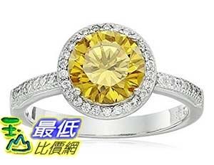 [美國直購] Rhodium Plated Sterling Silver Round Yellow Cubic Zirconia 8mm and White Cubic Zirconia Halo Ring, Size 7 戒指