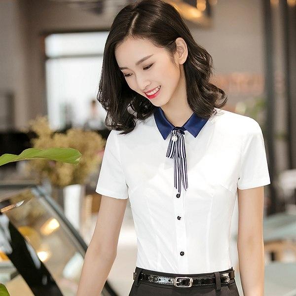 美之札[8S045-PF]中尺碼*簡約撞色翻領OL上班短袖襯衫(無附領結)