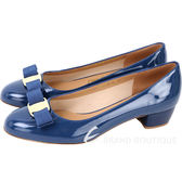 Salvatore Ferragamo VARA 蝴蝶結漆皮粗跟鞋(藏藍色) 1440690-B1