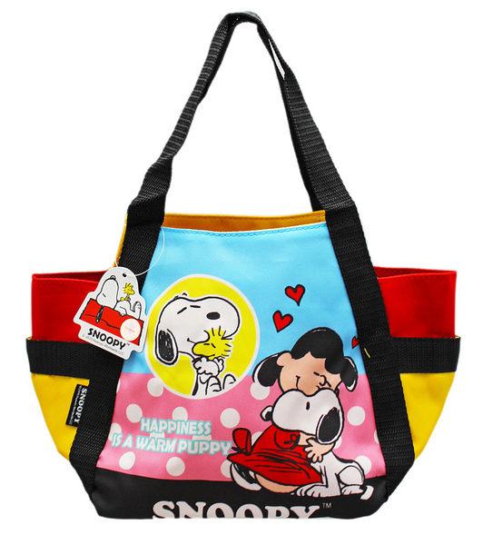 【卡漫城】 便當袋 Snoopy 黑紅 擁抱 ㊣版 史努比 吸鐵扣式 餐袋 手提袋 手提包 史奴比 糊塗塔克 露
