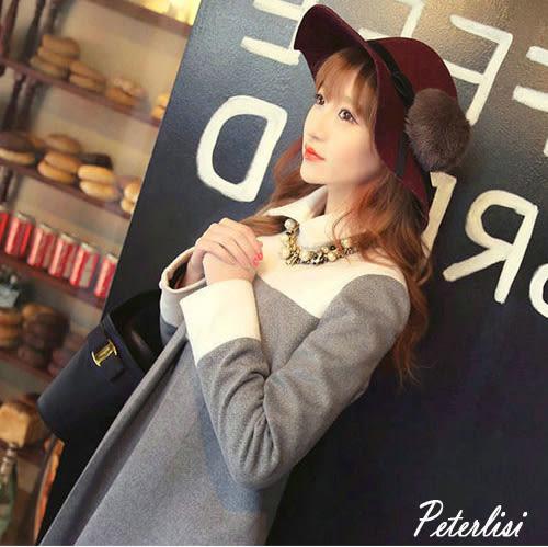 秋冬女裝韓版新款時尚寬鬆顯瘦長袖大碼氣質娃娃領毛呢連衣裙  1887K  彼得麗絲