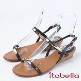 ★2018春夏新品★ itabella.一字帶金屬飾釦涼鞋((8319-90黑)