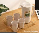 冷水壺小麥秸稈大容量套裝塑料耐高溫涼水壺涼水杯果汁壺扎壺家用  LannaS