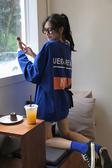 網紅上衣2019新款潮初秋韓版寬鬆bf秋裝藍色中長款長袖T恤女學生