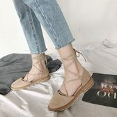 夏季包頭涼鞋女平底學生韓版百搭交叉綁帶仙女復古羅馬鞋 街頭布衣