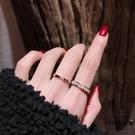 日韓版時尚玫瑰金鈦鋼單排鉆戒指男女飾品【時尚大衣櫥】