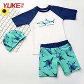 男童泳褲泳帽套裝 可愛男孩分體寶寶嬰兒卡通速乾遊泳衣 DA1077『黑色妹妹』