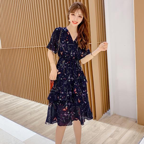 清倉388 韓系印花時尚修身V領碎花雪紡短袖洋裝