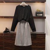中大尺碼XL-5XL棉花糖秋裝新款胖妹妹時尚印花顯瘦上衣 寬松半身裙兩件套8209.4F096韓衣紡