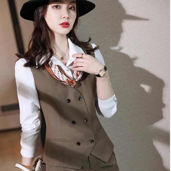 棕色雙排扣V領上班西裝背心[21X106-PF]美之札