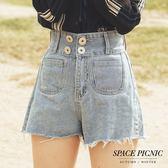 單寧 短褲 Space Picnic 現+預.高腰雙銀釦口袋單寧短褲【C18091091】