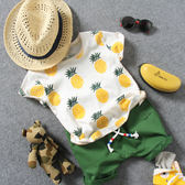 2018夏季新款兒童短袖T恤男童女童寶寶滿印菠蘿半袖T度假圓領打底禮物限時八九折