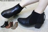 ALICE SHOES艾莉時尚美鞋 秋冬新款皮革素雅拉鍊低跟短靴@02@MIT台灣製造新品