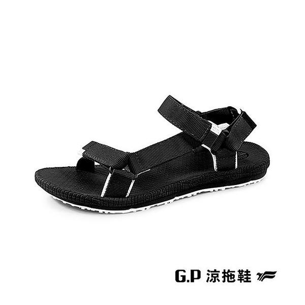 【南紡購物中心】G.P(女)【Charm】撞色織帶涼鞋 女鞋-黑(另有米)