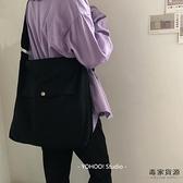 日系簡約帆布包百搭中性純色側背斜背包書包男女【毒家貨源】