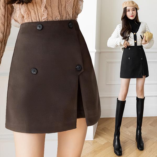 VK旗艦店 韓國風毛呢半身裙百搭高腰顯瘦不規則包臀短裙