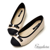訂製鞋 超好穿豆豆軟底蝶結金釦娃娃鞋-艾莉莎ALISA【037577】米色下單區