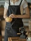 圍裙韓版時尚廚房成人定制logo包郵防油純棉咖啡廳牛仔工作圍裙女 快速出貨