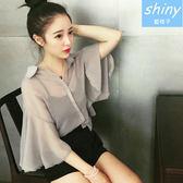 【V0453 】shiny 藍格子夢幻甜美.透視雪紡荷葉袖襯衫二件式上衣