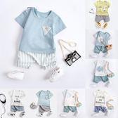 男寶寶夏裝套裝夏天季0一1-2-3歲三潮小男童童裝幼兒嬰兒衣服分體 滿天星